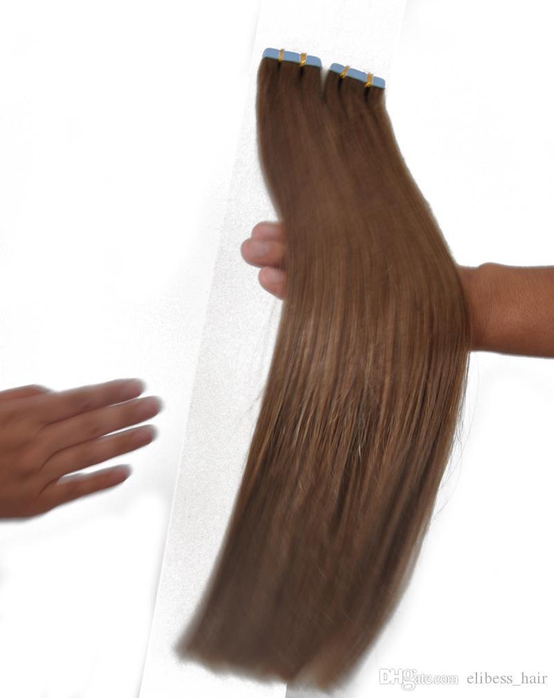Top-Qualität 80pcs 200g Menschenhaar-Verlängerungs-Tape in Hellbraun Farbe 8 # Haar-Verlängerungen Haut Schuss Echthaar