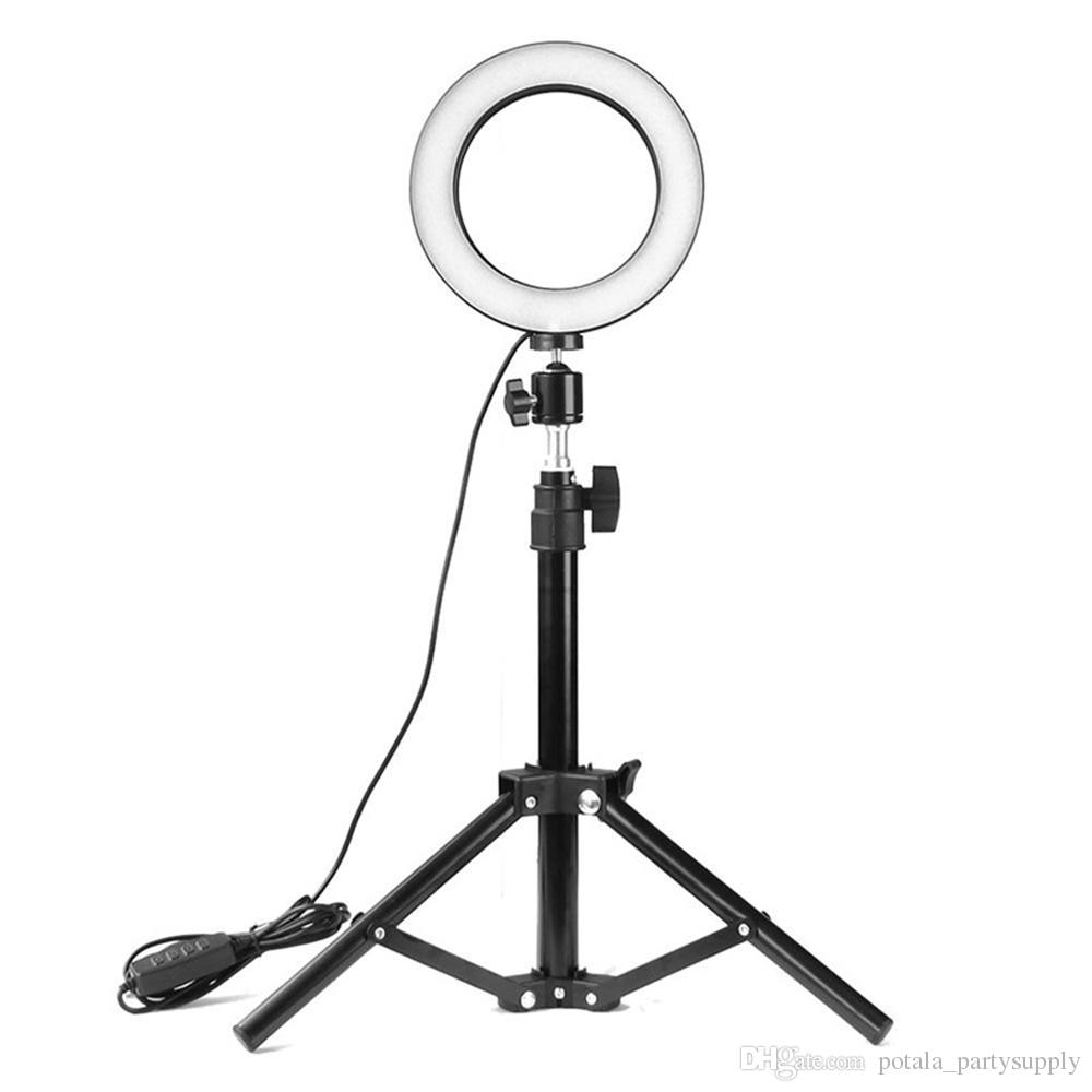 50CM 120CM 160CM Stand 6inch Lamp Live Fill Light Adjustable Phone Holder Photography Pics LED Selfie Light Ring Dimmable Lamp For Live Ins