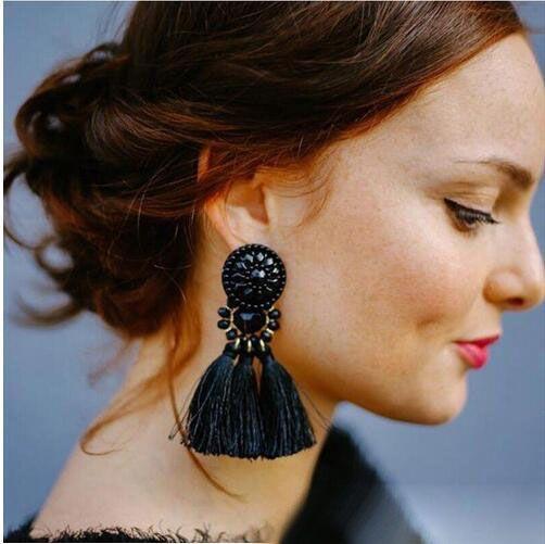 Bohemian lungo Dichiarazione della nappa orecchini di goccia di lusso resina perline nappa orecchini per le donne 9 colori ciondolano Scelta