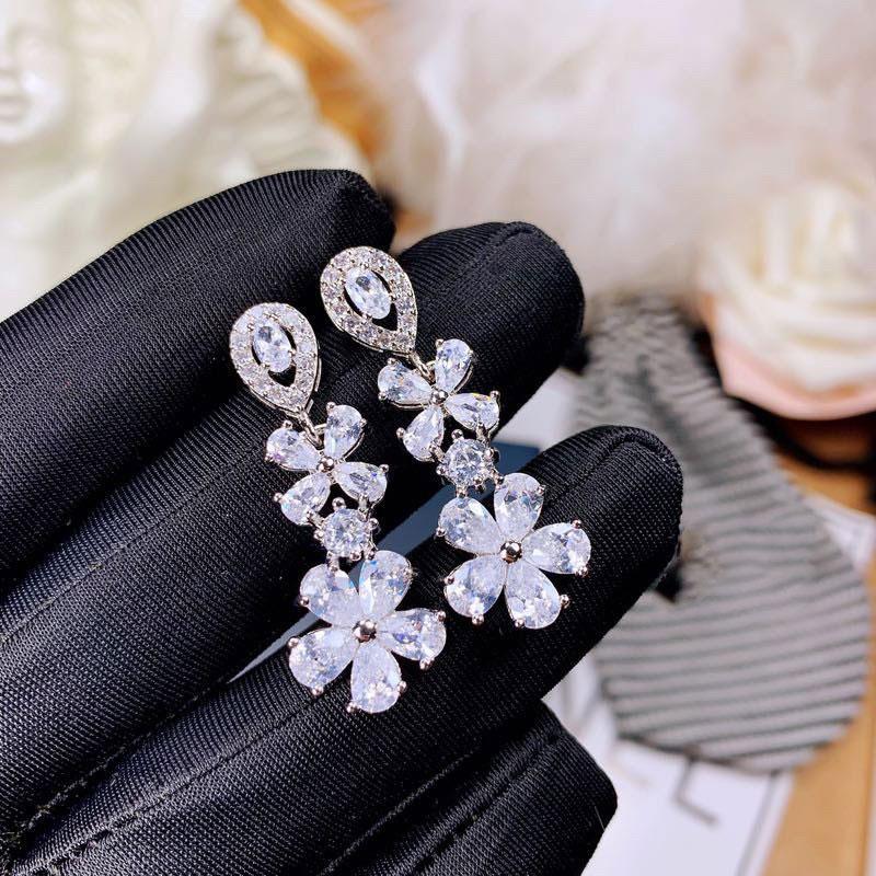 Baumeler Kronleuchter Geometrische Schnalle Ohrringe Schmuck Blume Anhänger Ohrring für Frauen Hochzeit Engagement Mode Weihnachten Party Geschenk 8679
