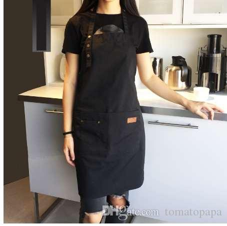 avental de algodão de lona de moda café e cabeleireiro Avental de trabalho sem mangas bib cozinhar