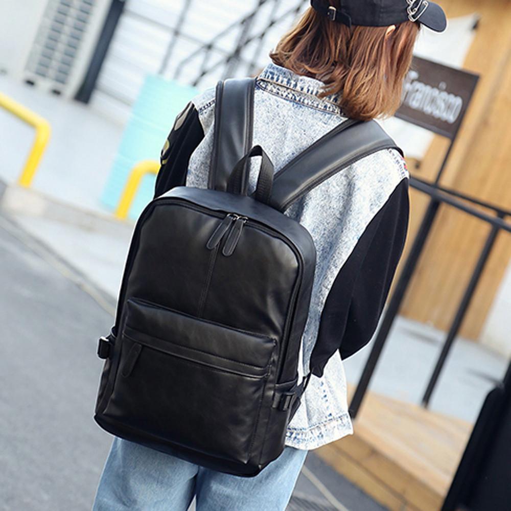 Большой рюкзак мужской женский кожаный рюкзак сумка для ноутбука дорожный школьный рюкзак сумка Zaino grande alla moda in tinta unita