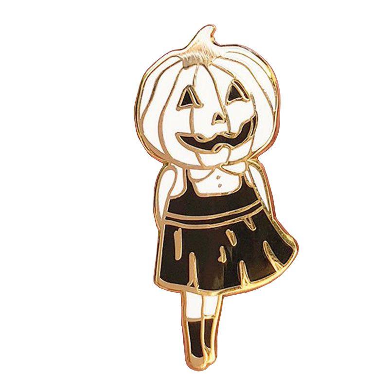 Pumpkin head girl enamel pin cute spooky badge happy Halloween gift for friends