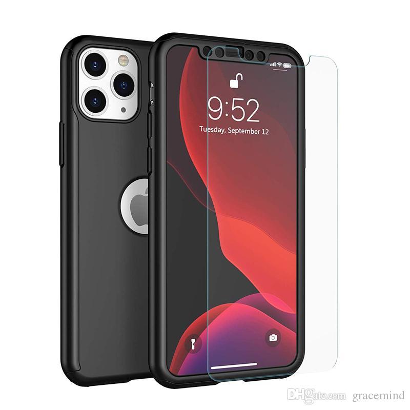 3-en-1 caso de la cubierta a prueba de golpes 360 Cobertura completa del cuerpo de Protección mate duro híbrido con pantalla de cristal templado protector para el iPhone Serie 11
