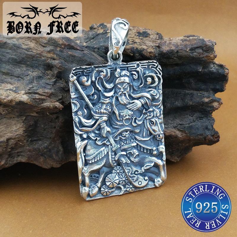 925 sterling silver jewelry the duke guan pendant necklace vintage ethnic best friends necklace men wholesale new arrival 2018