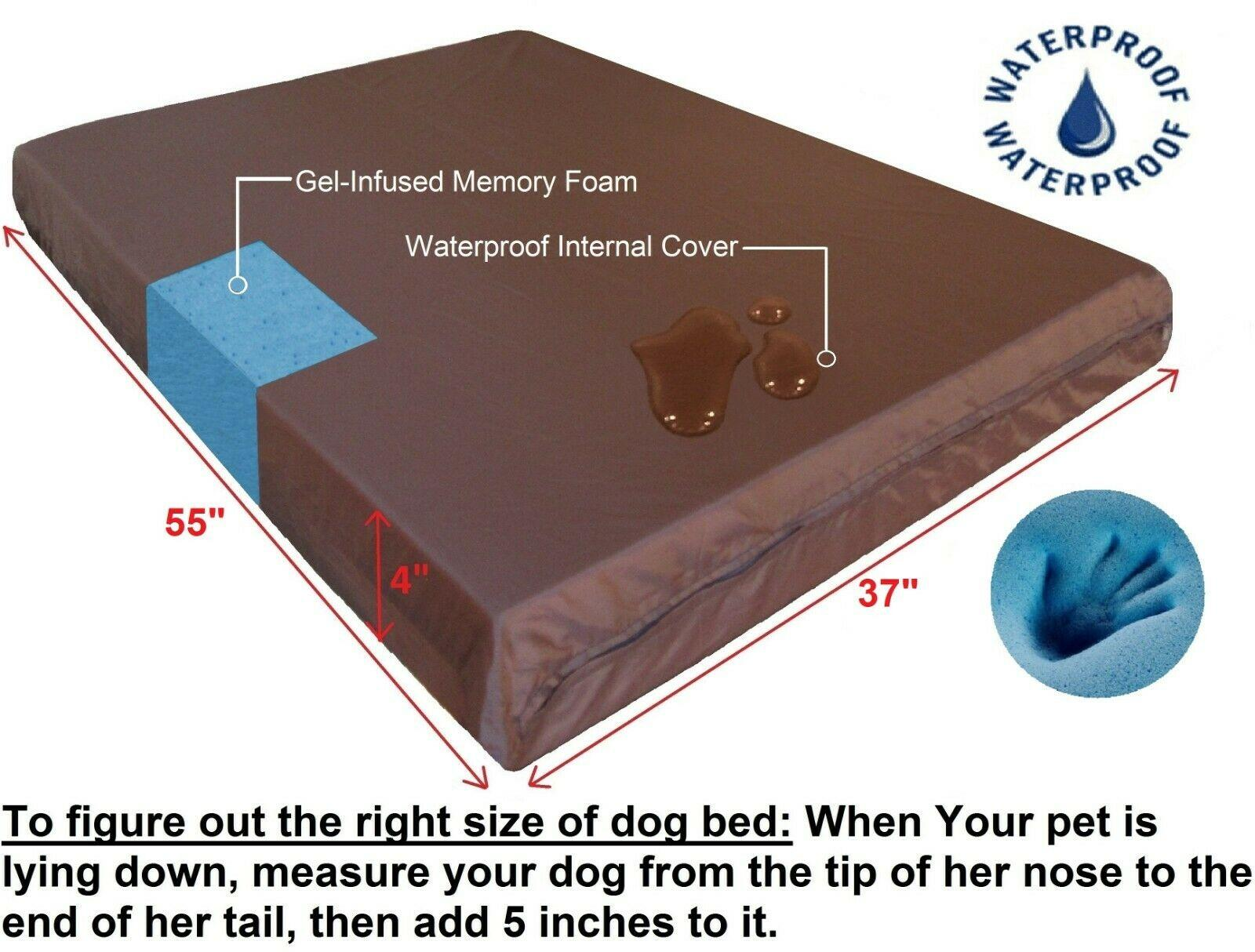 """55 « X37 » X4"""" Memory Rafraîchissez XXL Gel mousse imperméable orthopédique chien lit pour animaux Grand"""