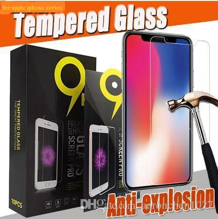 Protecteur d'écran en verre trempé 2.5D 9H pour iPhone 11 Pro 2019 XS Max XR X 8 7 6 6S plus 5 5S SE robuste protection avec paquet noir
