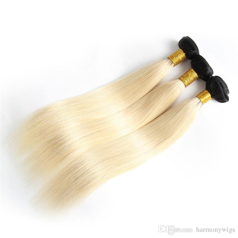 옹 브 브라질 머리카락 묶음 버진 사람 머리카락 weave weft 1B613 금발의 두 톤 처리되지 않은 페루 인디아 몽골어 헤어 익스텐션