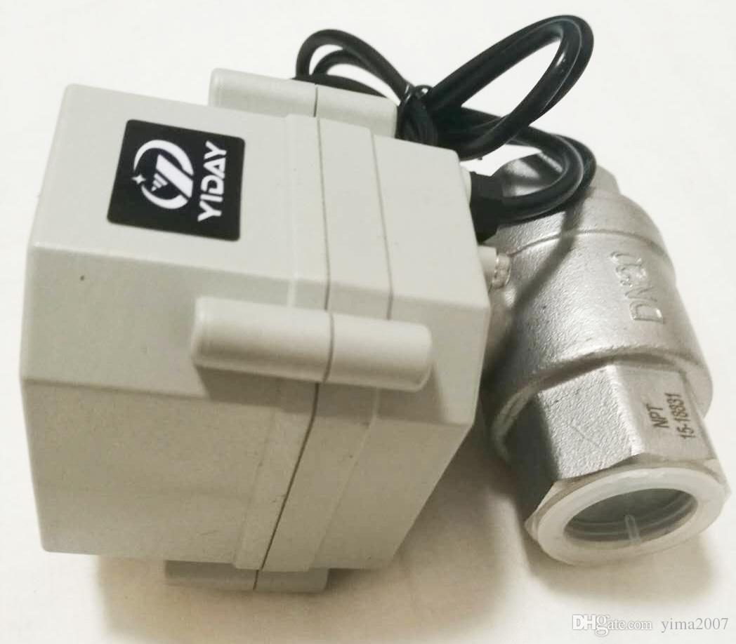 "NEW 110V~230V 1//2/"" 3//4/"" 1/"" SS304 Electric Motorized Ball Valve With US Plug"