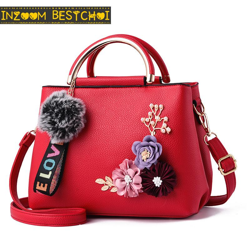 A tracolla in pelle PU donna Bag stereoscopico fiore artificiale Crossbody Borse di Tela femminile Messenger Borse