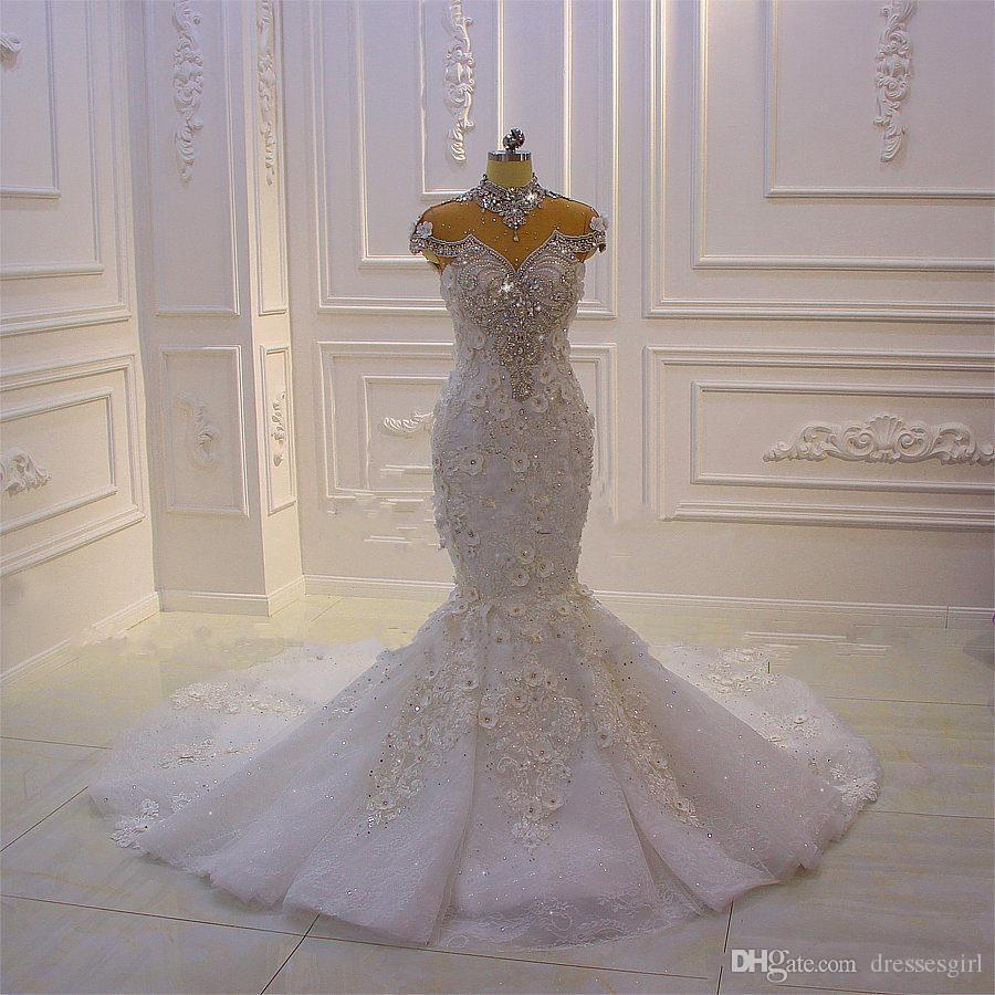Vintage Luxury Beading Crystals Wedding Dresses Mermaid Dubai Arabic Bridal Gown