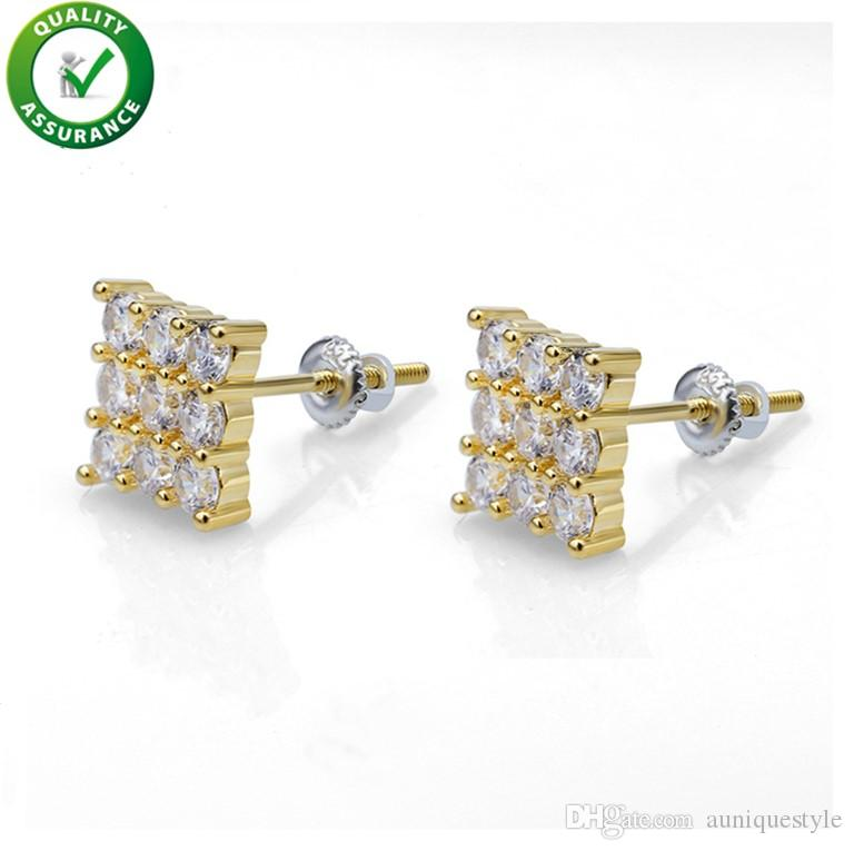 Designer Earrings Hip Hop Jewelry Mens Luxury Diamond Stud Earings Gold Silver Pandora Style Charms Men Women Fashion Rapper Love Wedding