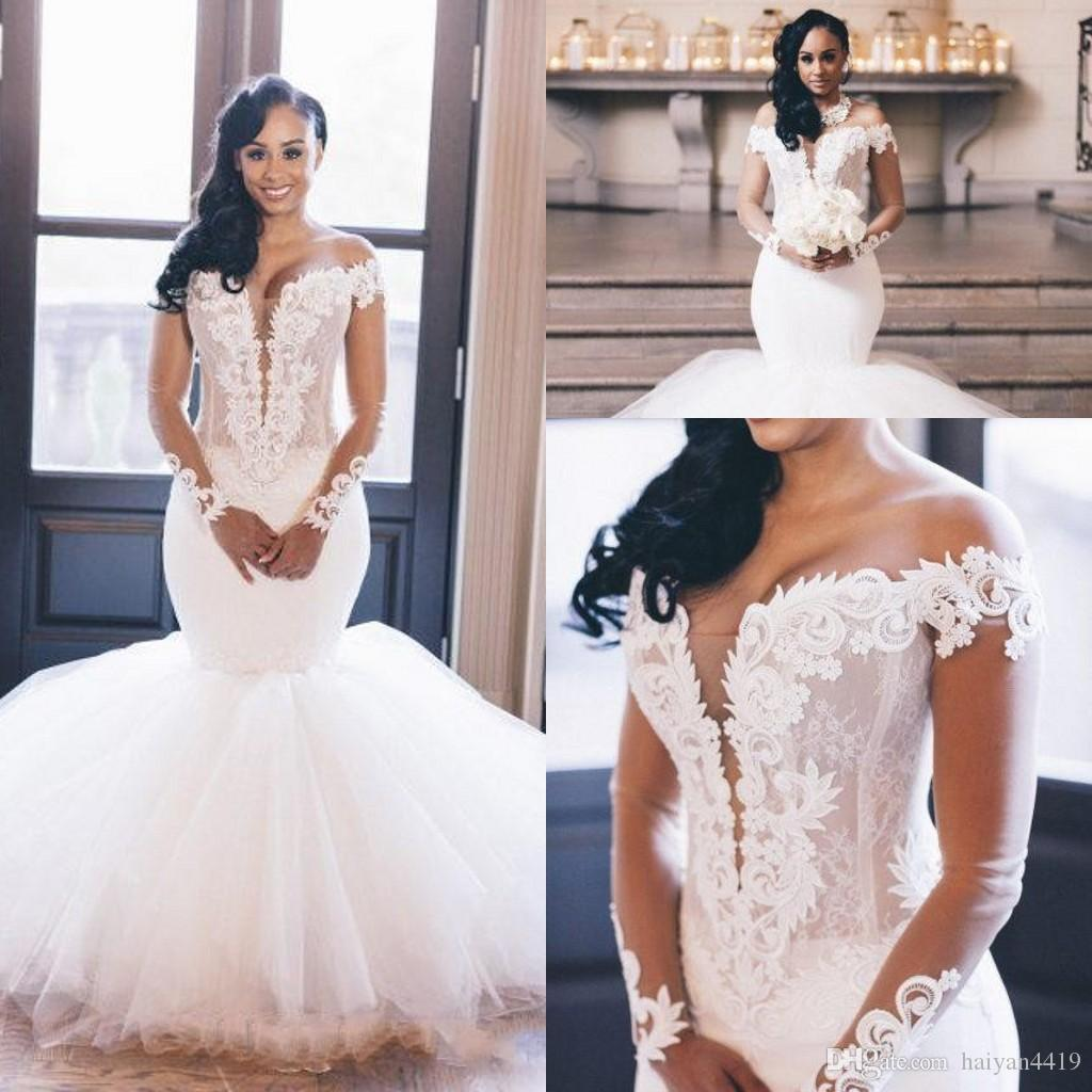 2020 New Sexy Arabic Mermaid Wedding Dresses Off Shoulder Long Sleeves Lace Appliques Illusion Keyhole Plus Size Formal Bridal Gowns