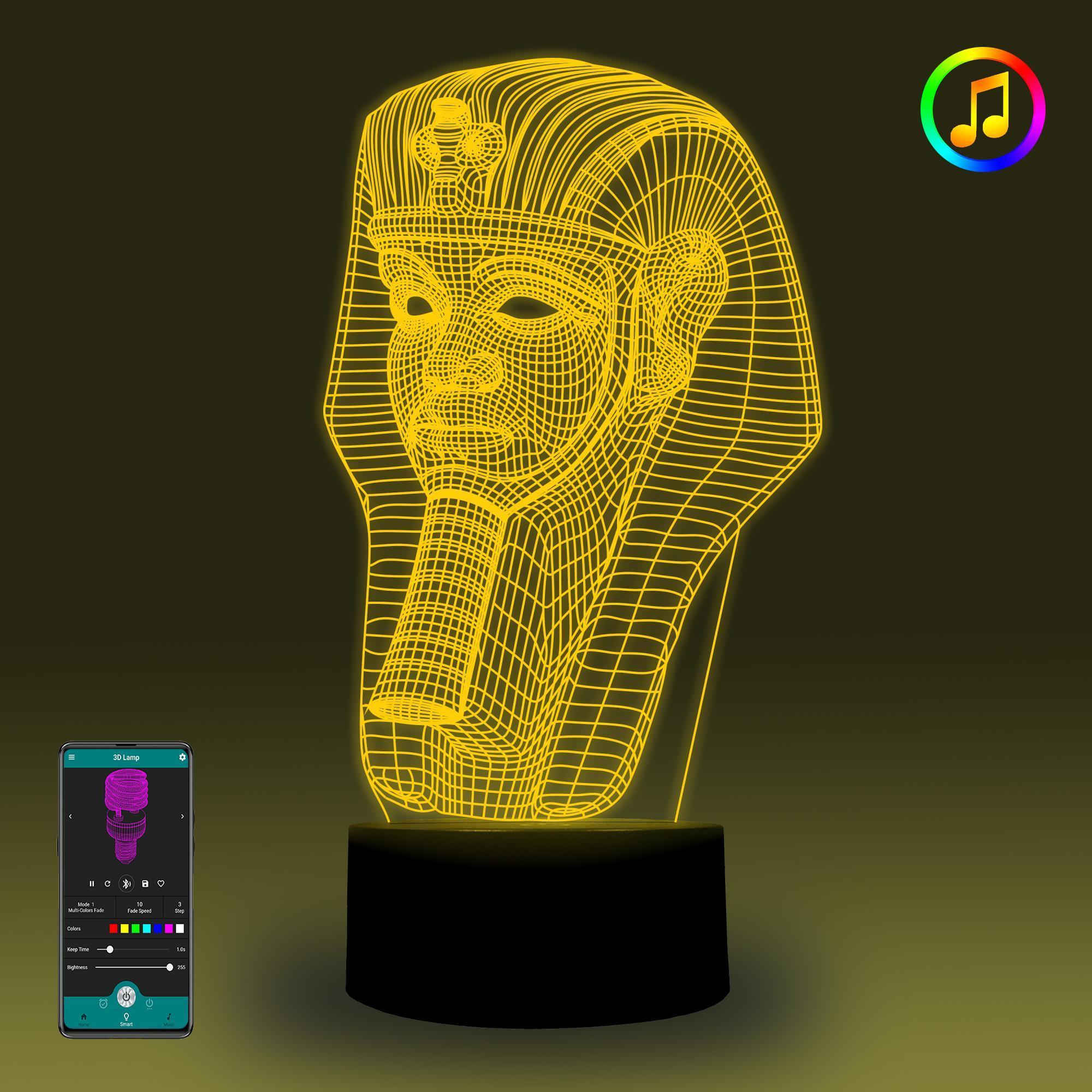 المصري فرعون الذكية 3D مصباح مصباح الوهم الموسيقى يلة متزامنة اللمس الخفيف وAPP الديكور غرفة تحكم واسع النطاق الجملة الحرة الشحن
