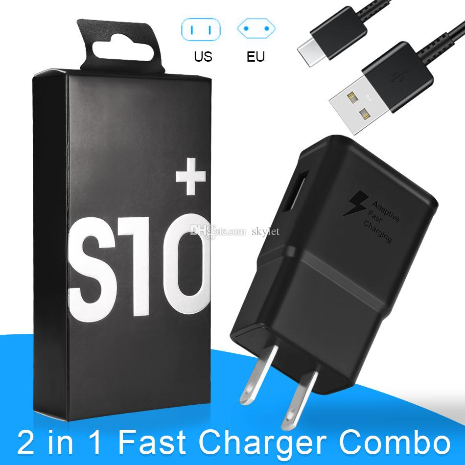 For Samsung S10 Charger Adapter 2 in 1 Fast Charger Combo 78W Wall Charger Type C Cable Home Adapter EU US PLUG for Android Celllphones
