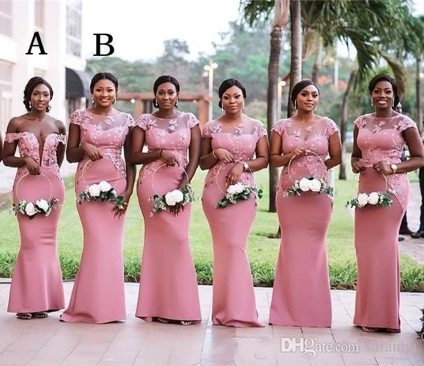 2020 Güney Afrika Nijerya Pembe Mermaid Uzun Nedime Elbiseler Artı Boyutu Sırf Boyun Dantel Aplikler Kat Uzunluk Düğün Konuk Elbise BM0614