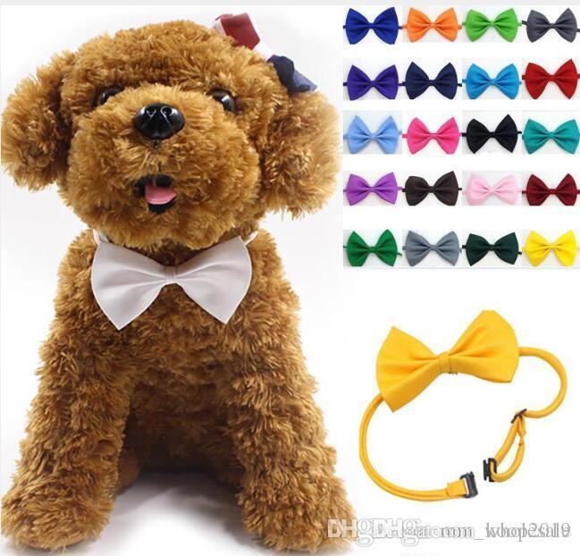 toptan 100Pcs / lot Hayvan headdress Köpek boyun kravat Köpek papyon Kedi Pet Malzemeleri Multicolor tımar kravat