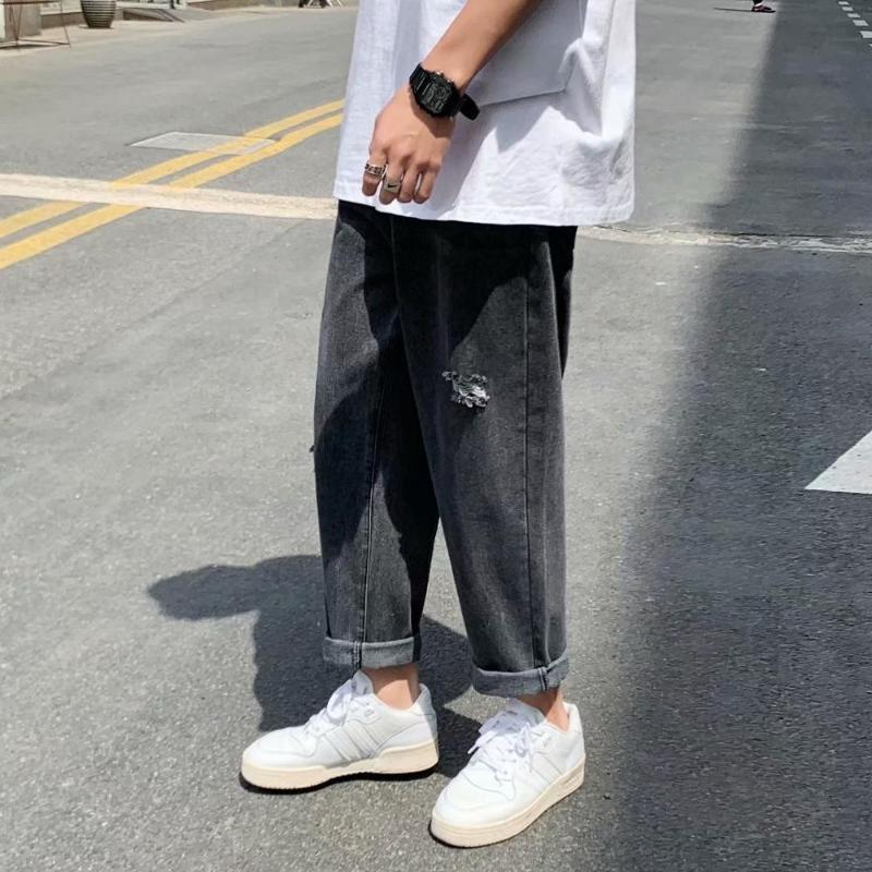 BXyichen 2020 original spring new hole jeans men loose loose straight fall feeling Hong Kong style Korean style trend pants