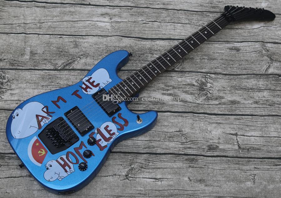 مخصص توم موريللو الذراع بلا مأوى معدن الأزرق الغيتار الكهربائي نسخ emg بيك اب، فلويد روز اهتزاز جسر قفل الجوز، أسود هادداي