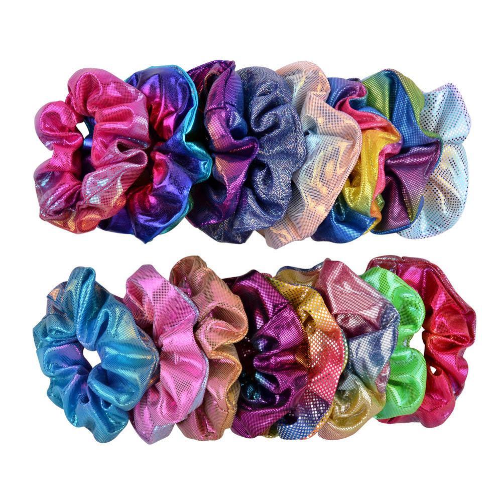 Frauen Shiny Laser Scrunchies Haarbänder PU-Leder-elastische Haar-Bänder Mädchen Pferdeschwanz-Halter-Seil Scrunchie Haarbänder Stirnband Ziemlich