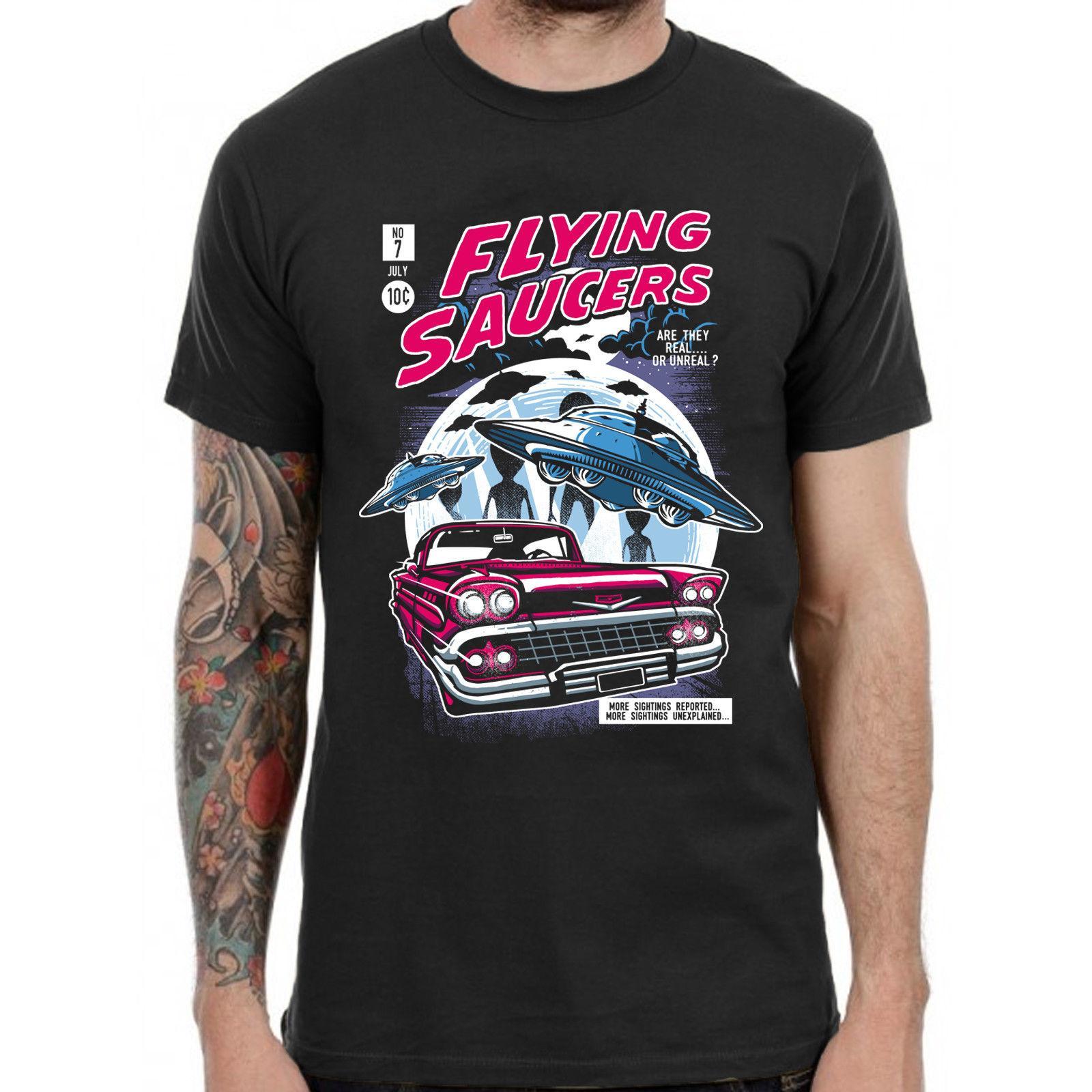 Flying Saucers Ufo Descuento al por mayor Camiseta vintage 80s Retro Grunge Rocker Skater Gamer