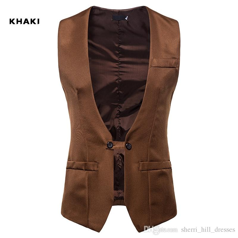 Customized Men Wedding Dress Vest Autumn And Winter New V-collar Design Men Armor Men Self-cultivation Double-row Button Suit And Jacket