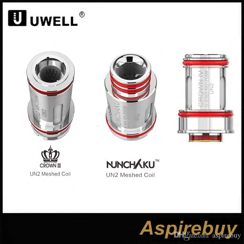 UN2 Meshed Coil 0.14ohm 0.2ohm 0.23ohm Replacement coil For Uwell Crown 4 Uwell Nunchaku 2 Tank 4pcs/pack Authentic
