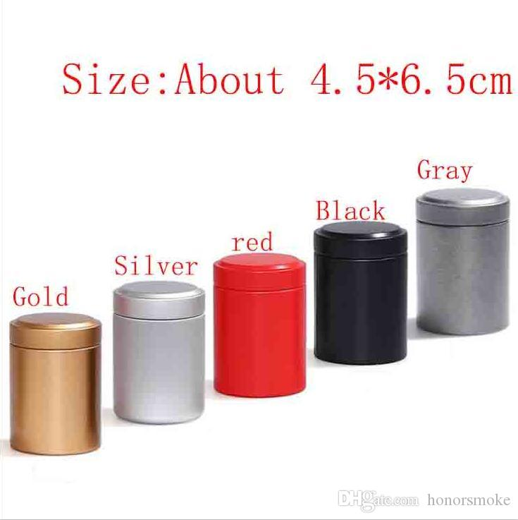 Pill Mini redonda de metal Box Titular vantajosas Container caso de armazenamento impermeáveis Cans Tobacco chá Stash 5 cores