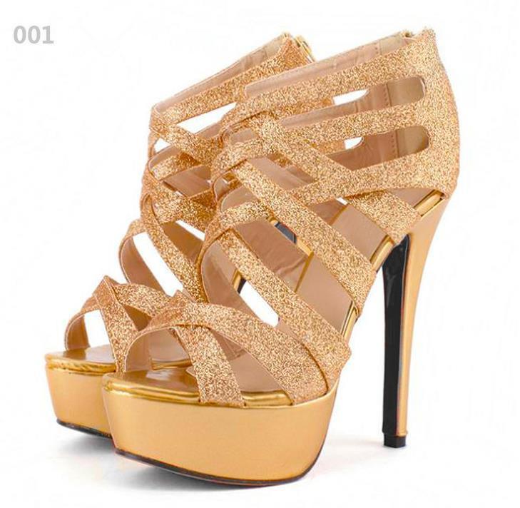 Sıcak Satış Düğün Ayakkabı Gümüş Altın Gladyatör Sandalet strappy Yüksek Platformu Stiletto topuk Elbise Shoess EPacket Ücretsiz Kargo