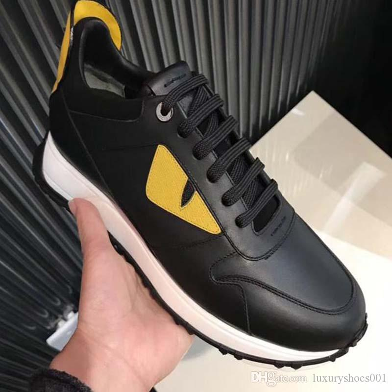 wholesale Hot yellow eyes little monsters Genuine Leather Top quality All cowhide stitching Men's casual shoes free shipping N2