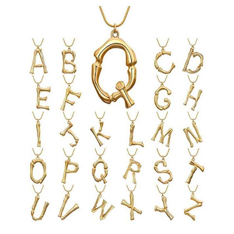 Colar declaração Hot Moda Jóias Vintage Hipérbole Grande Inglês Carta Pingente de Corrente De Ouro Dangle Colares Para As Mulheres Presente