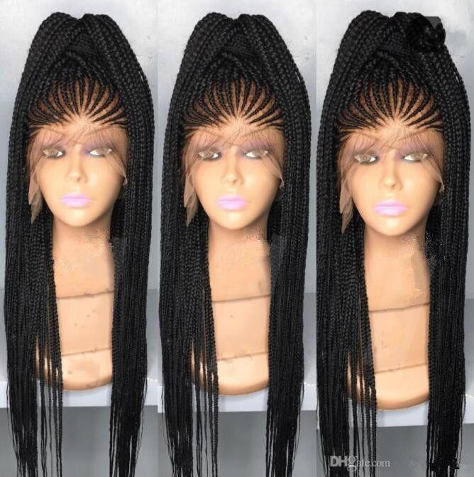 Africa American Box Trenzas Peluca de pelo Encaje Frontal Densidad de peluca 200% Color negro Peluca de encaje de pelo sintético para mujeres negras Envío gratuito