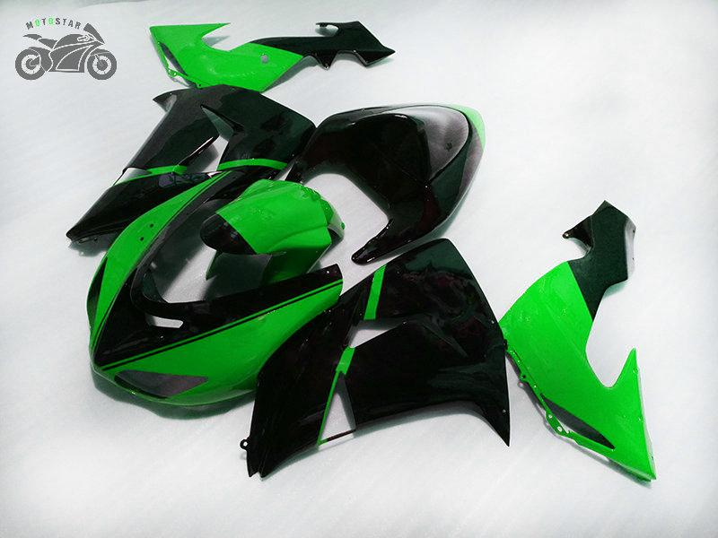 Özelleştirmek Yeşil Siyah Kazak Kiti Kawasaki Ninja ZX-10R 2006 2007 ZX10R 06 07 ZX 10R Motosiklet Yüzler Set