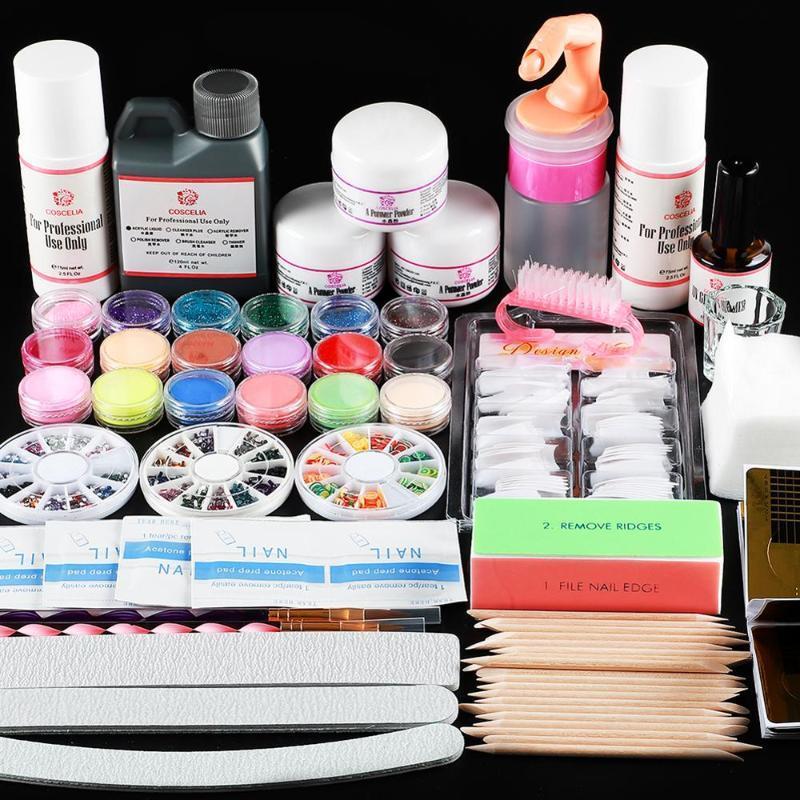 Nail acrylique Pro Kit manucure acrylique Power Liquid Glitter Nail Conseils fichiers Pinceau Décoration Outils d'art Kit Manucure