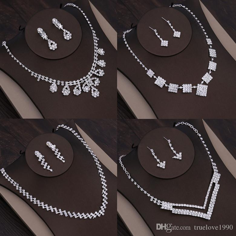Amazing Silver Bridal Jewelry 2 Pieces Sets Necklace Earrings Bridal Jewelry Bridal Accessories Wedding Jewelry T218123