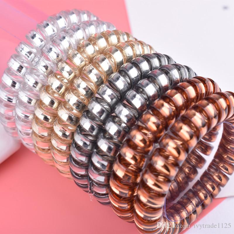 4 Colors Telephone Wire Cord Gum Hair Tie 5.5cm Girls Elastic Hair Band Ring Rope Candy Color Bracelet Stretchy Scrunchy