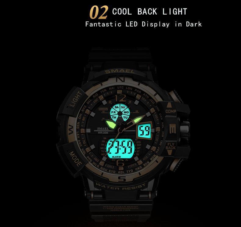 SMAEL АРМИЯ спортивные часы Набор мужской двойной прохладный Мужской водонепроницаемый wristclock 1376 1237 Элохио секундомера аналоговый Мужчина для LED SPORT 2020