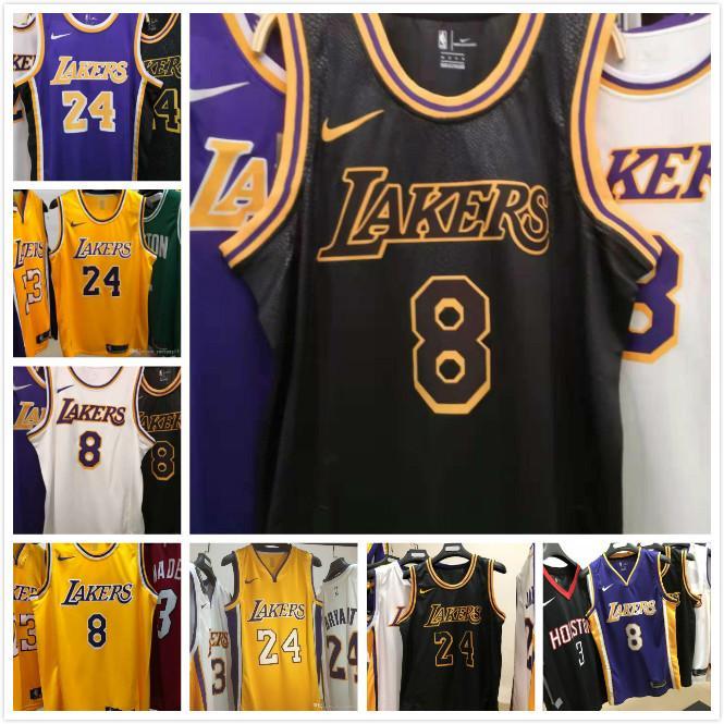 2020 2020 New Mens 24# Kobe Bryant Home Yellow Swingman Basketball
