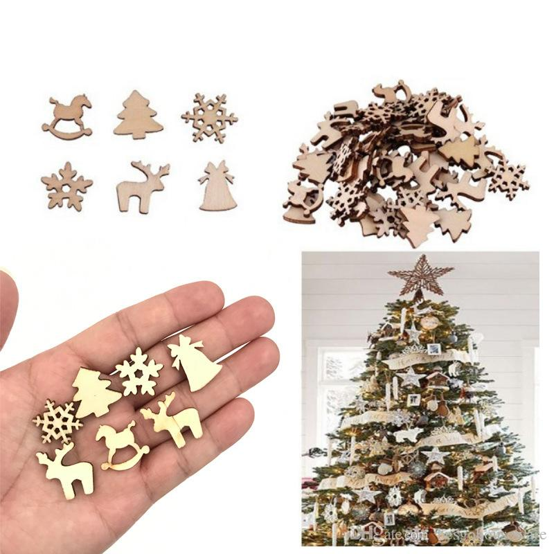 100 Pcs Wood Christmas Decorations Snowflake Wood Embellishment Christmas Tree Elk Decoration Gifts DIY Christmas Accessories BH2113 CY