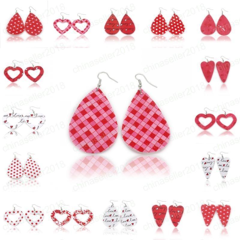 Brincos de couro do anjo PU para presente do dia Senhora da forma vermelha do coração oco impressão Oval Dangle Brincos Jóias Mulheres Namorados