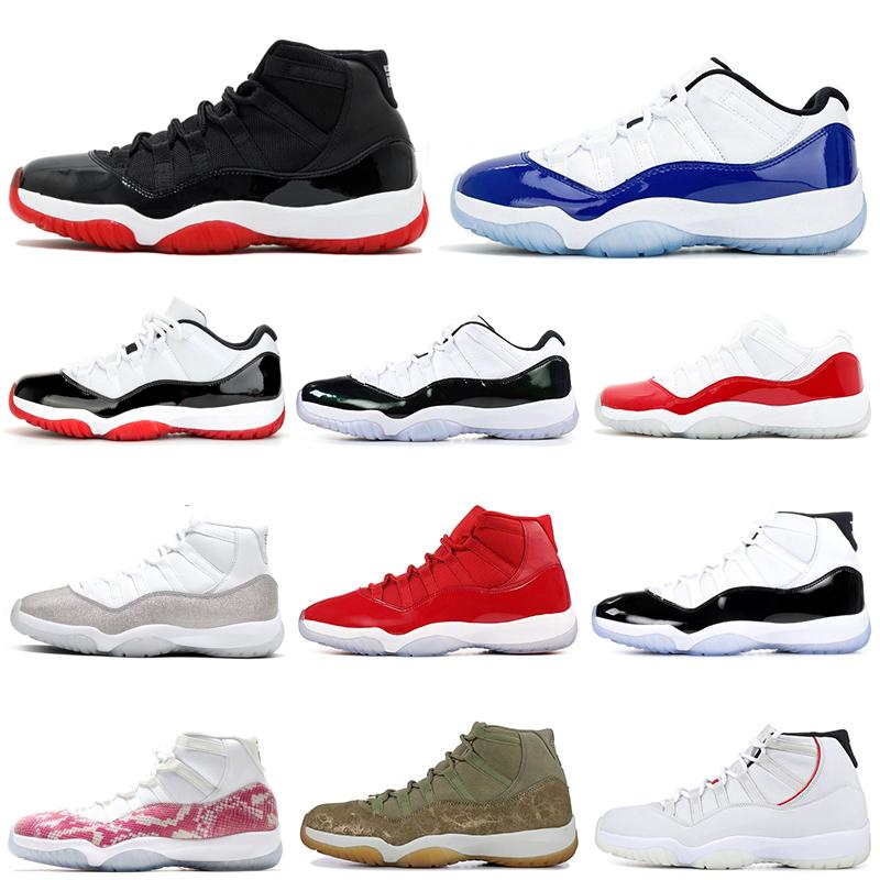 Metallic Silver men women basketball shoes jumpman 11 bred 2019 11s Space Jam Concord Blue Snakeskin mens trainers athletic sports sneakers