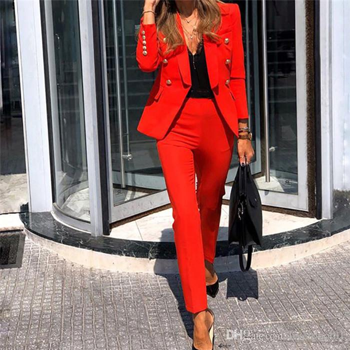 Set Tasarımcısı Katı Suit İki Adet Suit Slim Fit Moda Yaka Uzun Kollu Pantolon Womens