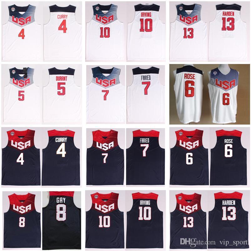 2014 USA Basketball Jerseys Dream Team Eleven 4 Stephen Curry 5 Thompson 6 Derrick Rose 10 Kyrie Irving James Harden Kevin Durant National
