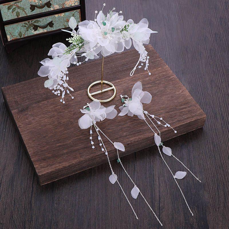 ACRDDK Fairy Korean Women Wedding Hair Accessorie Sweet Fresh White Fake Flower Crystal Bead Tassels Hairband Long Ear Clip Set SL
