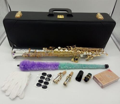الساكسفون المهنية Soprano Yanagisawa S-9030 S-WO3 B الفضة مطلي الذهب مفتاح ساكس سوبرانو النحاس الآلات الموسيقية مع القضية
