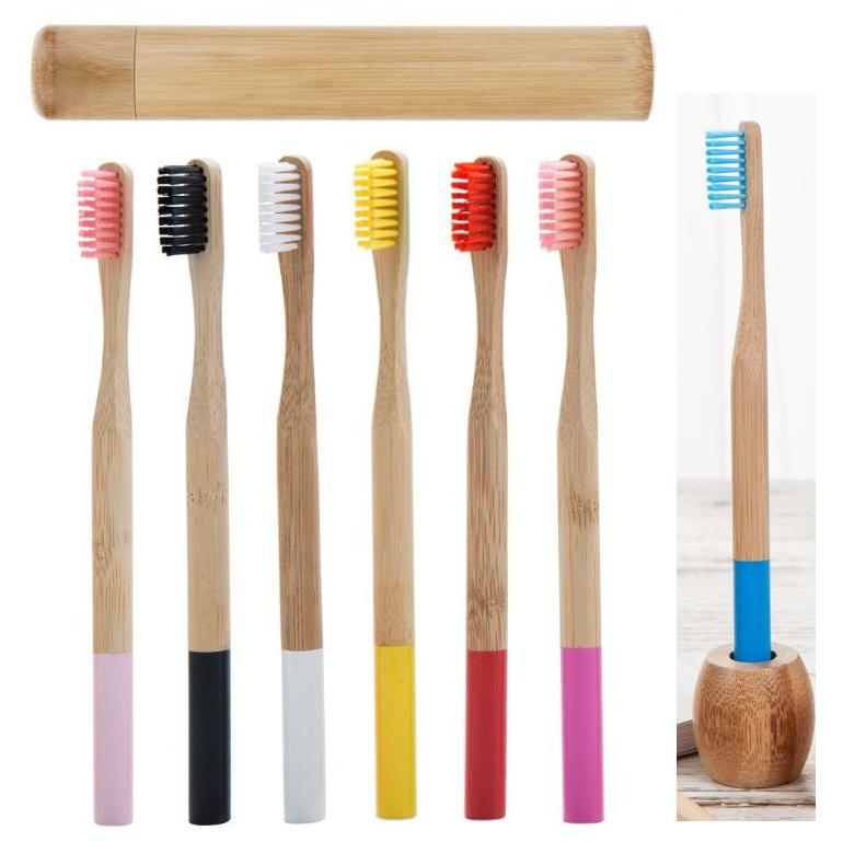 Adulto Bamboo escova de dentes com titular e bambu tubo redondo Handle viagem Escovas de dentes Embalagem Para Oral material de higiene do hotel