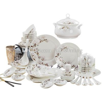 qualidade AAAAA 58 estilo chinês set uso porcelana casa talheres louça definir bela flor desenhado