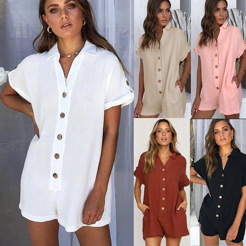 Novos produtos de moda feminina hot explosions camisa botão macacão