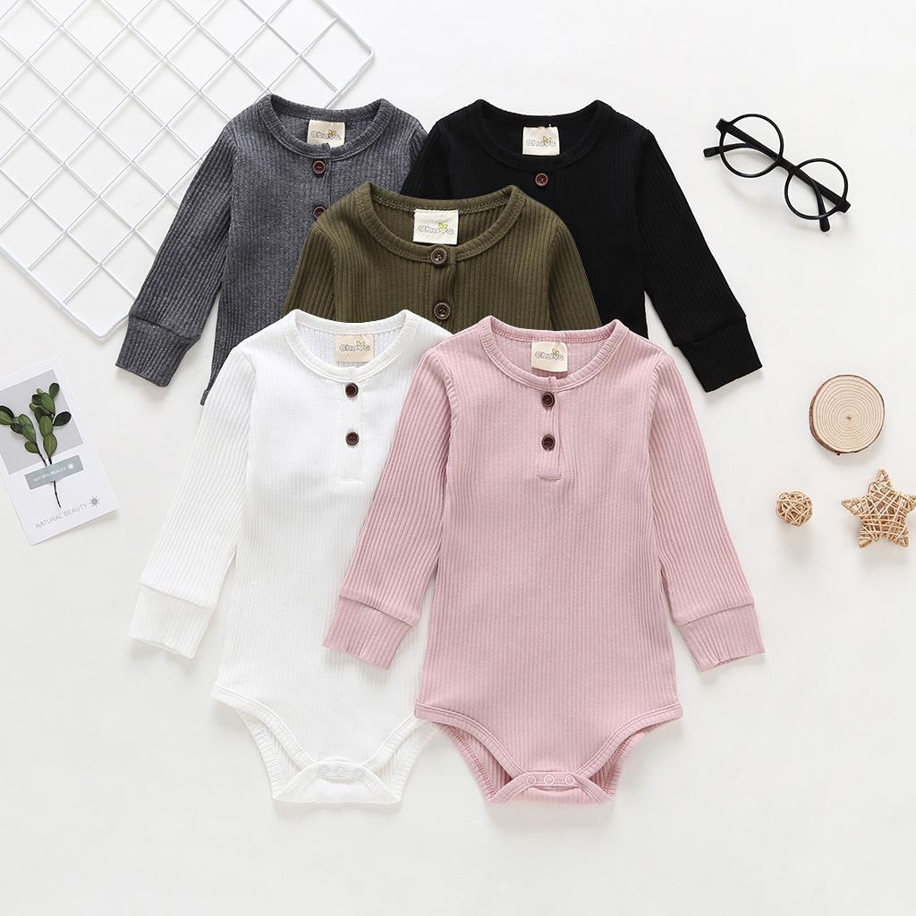 5 Colors Solid Cotton Rompers For Baby Girls Boys Jumpsuits Newborn Triangle Buttons Playsuit Casual Boutique Clothes M1088