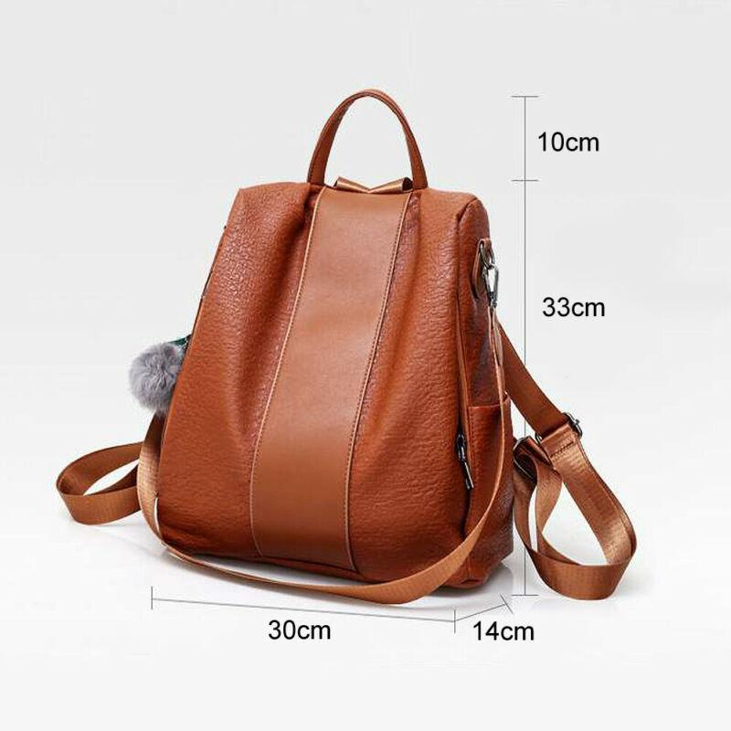 حقيبة جلد المرأة حقيبة الظهر مضاد للسرقة الظهر مدرسة سفر كتف حقيبة